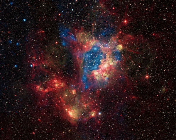 This composite image shows a superbubble in the Large Magellanic Cloud.