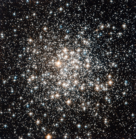 The NASA/ESA Hubble Space Telescope has captured a crowd of stars that looks rather like a stadium darkened before a show, lit only by the flashbulbs of the audience's cameras. Yet the many stars of this object, known as Messier 107, are not a fleeting phenomenon, at least by human reckoning of time — these ancient stars have gleamed for many billions of years. Messier 107 is one of more than 150 globular star clusters found around the disc of the Milky Way galaxy. These spherical collections each contain hundreds of thousands of extremely old stars and are among the oldest objects in the Milky Way. The origin of globular clusters and their impact on galactic evolution remains somewhat unclear, so astronomers continue to study them through pictures such as this one obtained by Hubble. As globular clusters go, Messier 107 is not particularly dense. Visually comparing its appearance to other globular clusters, such as Messier 53 or Messier 54 reveals that the stars within Messier 107 are not packed as tightly, thereby making its members more distinct like individual fans in a stadium's stands. Messier 107 can be found in the constellation of Ophiuchus (The Serpent Bearer) and is located about 20 000 light-years from the Solar System. French astronomer Pierre Méchain first noted the object in 1782, and British astronomer William Herschel documented it independently a year later. A Canadian astronomer, Helen Sawyer Hogg, added Messier 107 to Charles Messier's famous astronomical catalogue in 1947. This picture was obtained with the Wide Field Camera of Hubble's Advanced Camera for Surveys. The field of view is approximately 3.4 by 3.4 arcminutes.